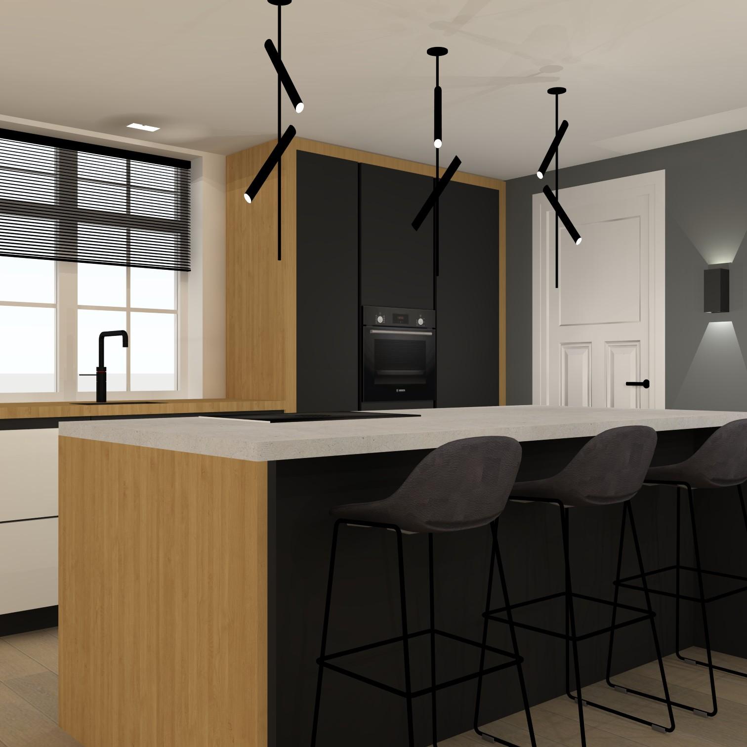 Black,White en wood keuken