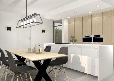 Witte keuken met houten kastenwand